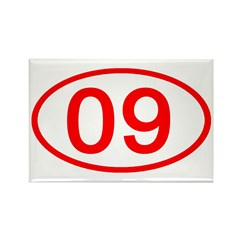 Number 09 Oval Rectangle Magnet
