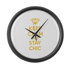 Keep calm and stay chic Large Wall Clock