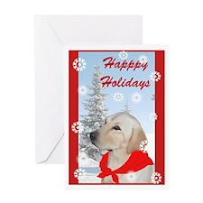 Yellow Lab Christmas Greeting Card