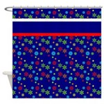 Colorful Christmas Snowflakes Shower Curtain