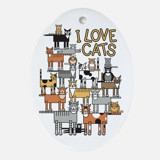 I LOVE CATS Ornament (Oval)
