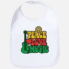 Reggae Peace Love Music Bib
