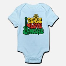 Reggae Peace Love Music Body Suit