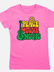 Reggae Peace Love Music Girl's Tee
