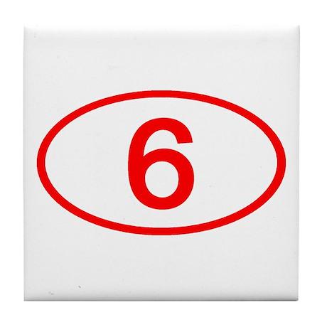 Number 6 Oval Tile Coaster