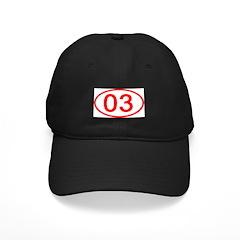Number 03 Oval Baseball Hat