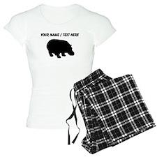 Personalized Black Hippo Silhouette Pajamas
