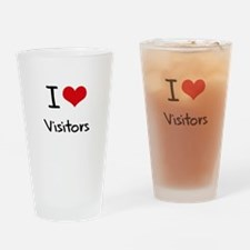 I love Visitors Drinking Glass