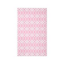 Light Rose Pink Ogee Pattern 3'x5' Area Rug