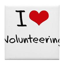 I love Volunteering Tile Coaster