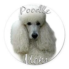 PoodlewhiteMom.png Round Car Magnet