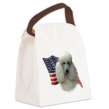 PoodlewhiteFlag.png Canvas Lunch Bag