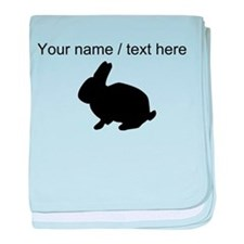 Personalized Black Bunny Silhouette baby blanket