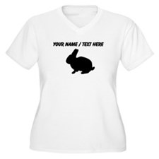 Personalized Black Bunny Silhouette Plus Size T-Sh