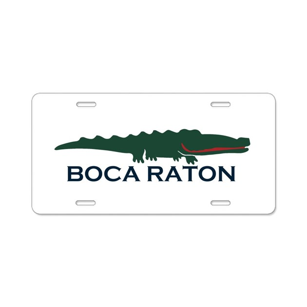 Boca Raton Alligator Design Aluminum License Pl By Oceanico