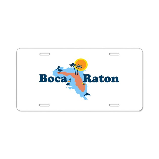 Boca Raton Map Design Aluminum License Plate By Oceanico
