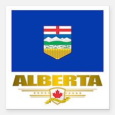 """Alberta Flag Square Car Magnet 3"""" x 3"""""""