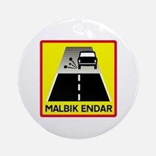 End Of Tarred Road - Iceland Ornament (Round)