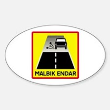 End Of Tarred Road - Iceland Oval Decal