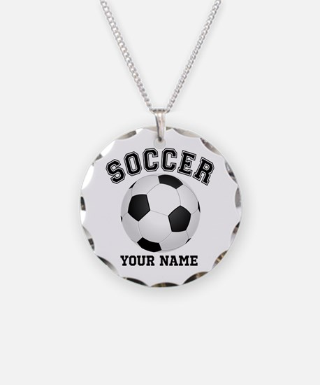 Personalized Name Soccer Necklace Circle Charm