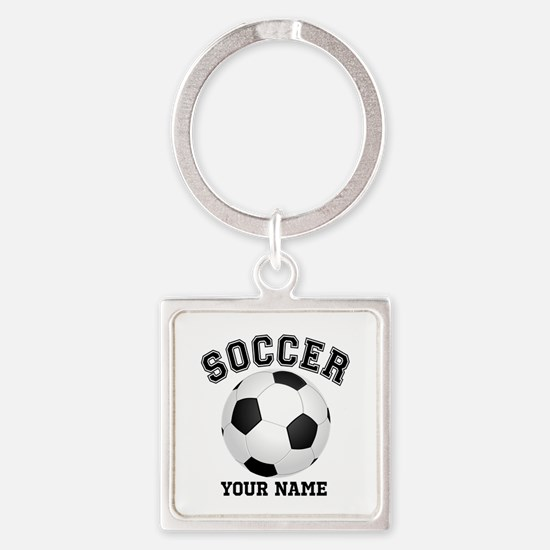 Personalized Name Soccer Square Keychain