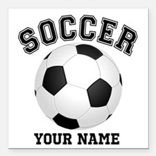 "Personalized Name Soccer Square Car Magnet 3"" x 3"""