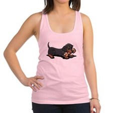 Doxie With Bone Racerback Tank Top