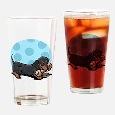 Doxie With Bone Drinking Glass