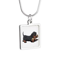 Doxie With Bone Silver Square Necklace