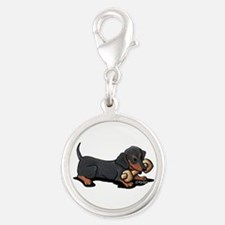 Doxie With Bone Silver Round Charm