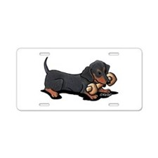 Doxie With Bone Aluminum License Plate
