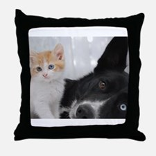Cute Kitten and Dog Throw Pillow