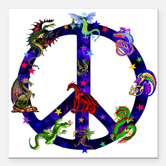 "Dragons Peace Sign Square Car Magnet 3"" x 3"""