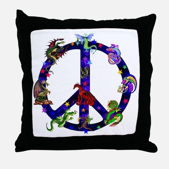Dragons Peace Sign Throw Pillow