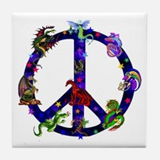 Dragons Peace Sign Tile Coaster