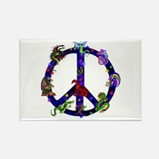 Dragons Peace Sign Rectangle Magnet