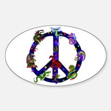 Dragons Peace Sign Sticker (Oval)