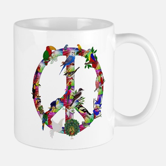Colorful Birds Peace Sign Mug