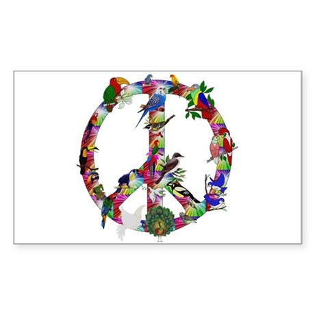 Colorful Birds Peace Sign Sticker (Rectangle)