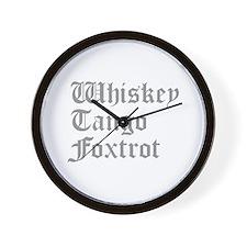 whiskey-tango-foxtrot-old-l-gray Wall Clock