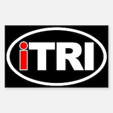 Triathlon iTRI Ironman Oval Euro Sticker Black Sti
