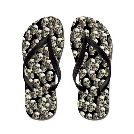 Grinning Black and White Skull Flip Flops Flip Flo