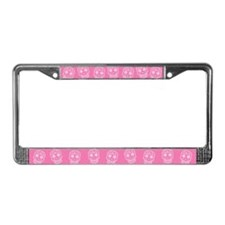 Pink Sugar Skull License Plate Frame