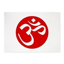Buddhist Om Red 5'x7'Area Rug