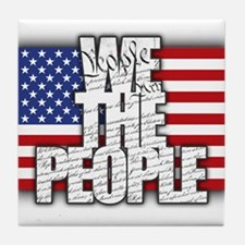 WE THE PEOPLE with Flag Tile Coaster