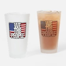 WE THE PEOPLE with Flag Drinking Glass