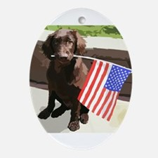 4th of July Puppy too Ornament (Oval)