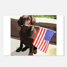4th of July Puppy too Postcards (Package of 8)