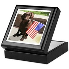 4th of July Puppy too Keepsake Box