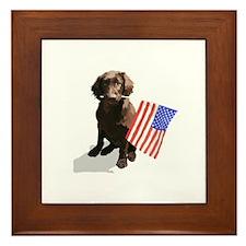 4th of July pup Framed Tile
